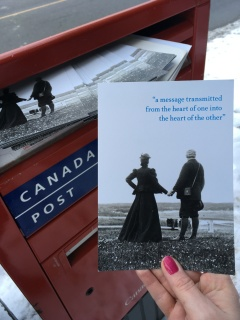 The beautiful postcards printed by the Grand - a picture of Mabel and Alex, and a quote from the act I.