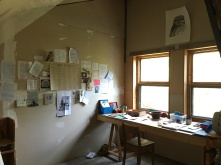 This is the studio space I was given, and what it looked like when I was working. (Note: wall installation of the 'Alone, together' correspondence I have received).